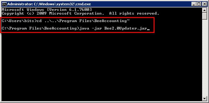 Updater Beeaccounting Melalui CMD di Win7