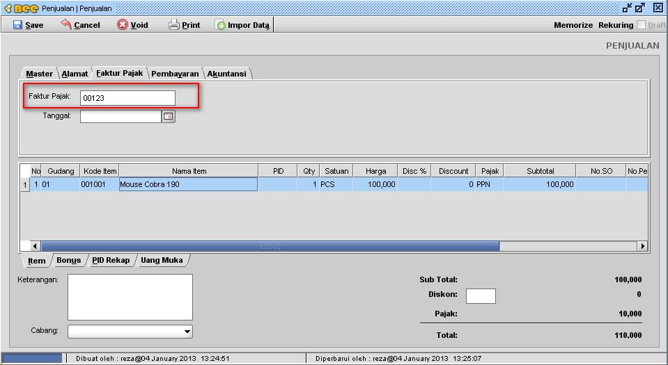 Setting Format No.Faktur Pajak & No.NPWP