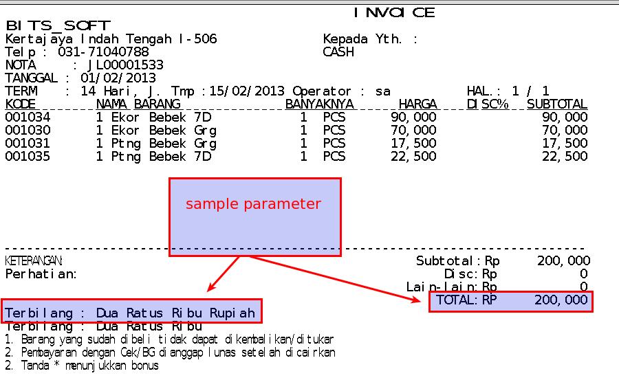 Setting Mata Uang dan Terbilang di Struk Invoice Faktur Penjualan (Text Report)