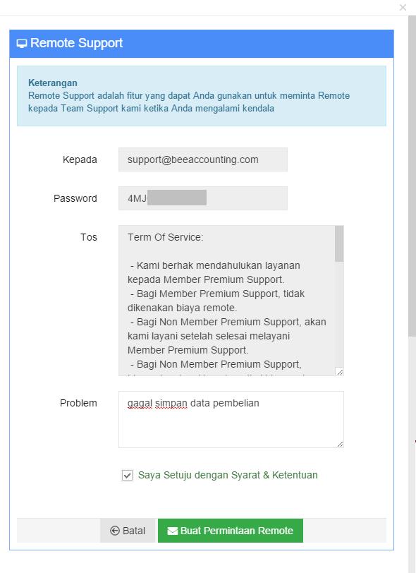 Kirim Form Request Remote Support