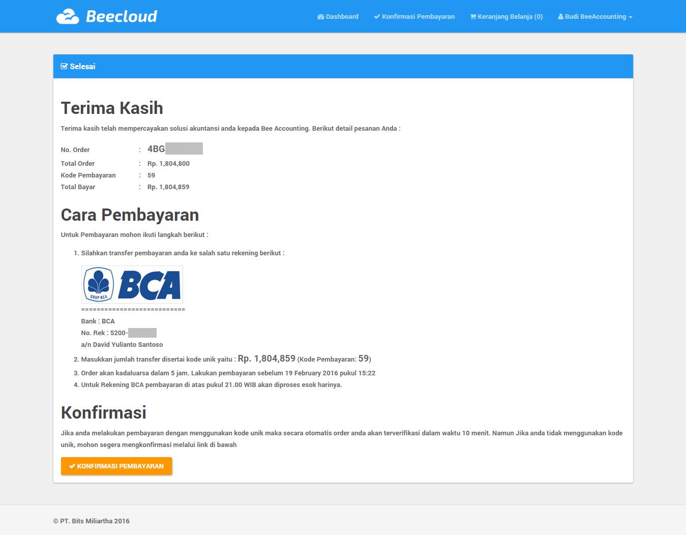 Perpanjangan (Renewal) Paket User Database Beecloud