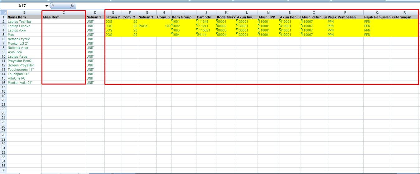 Import Master Item Melalui Excel