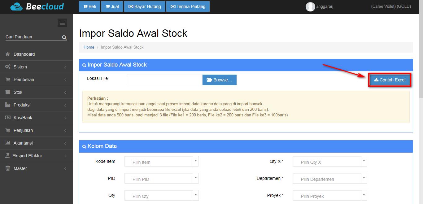 Import Stock Item via Excel di Beepos