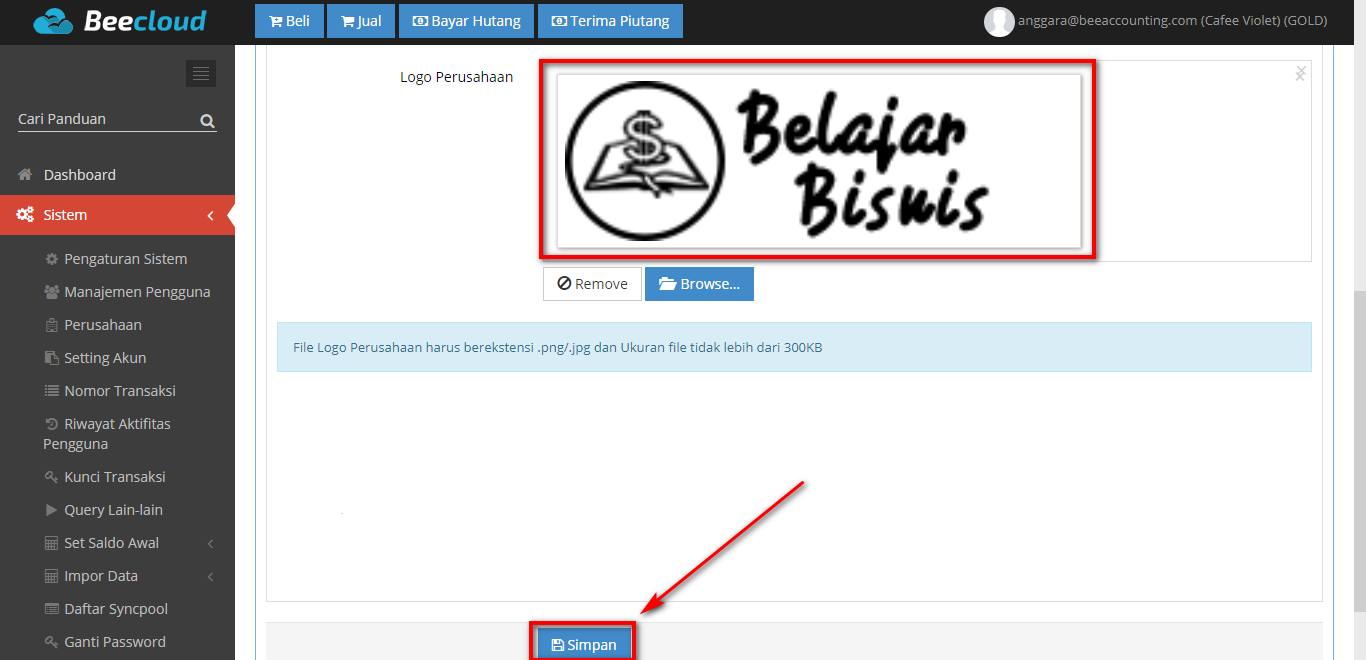 Menambahkan Logo Perusahaan Beepos Desktop