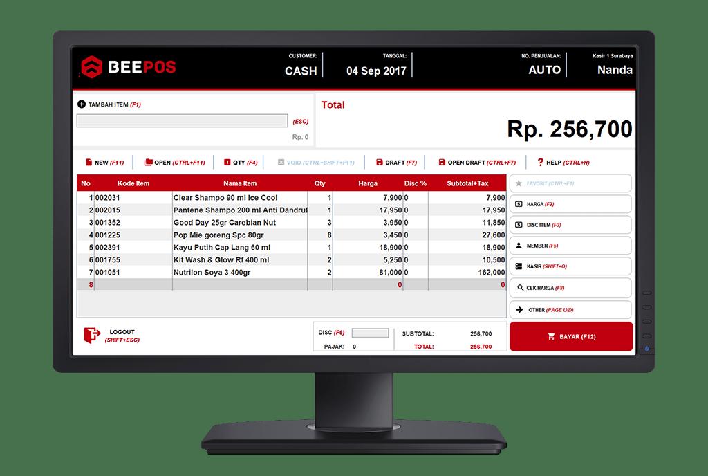 Tampilan Software Kasir