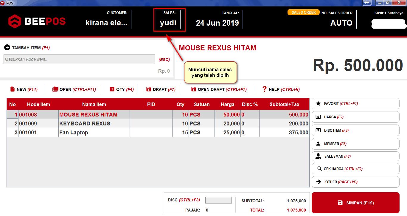 Input Sales Pada Beepos