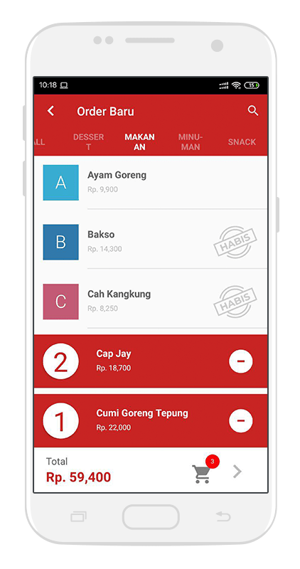 Waiter Order App Android - Software Restoran