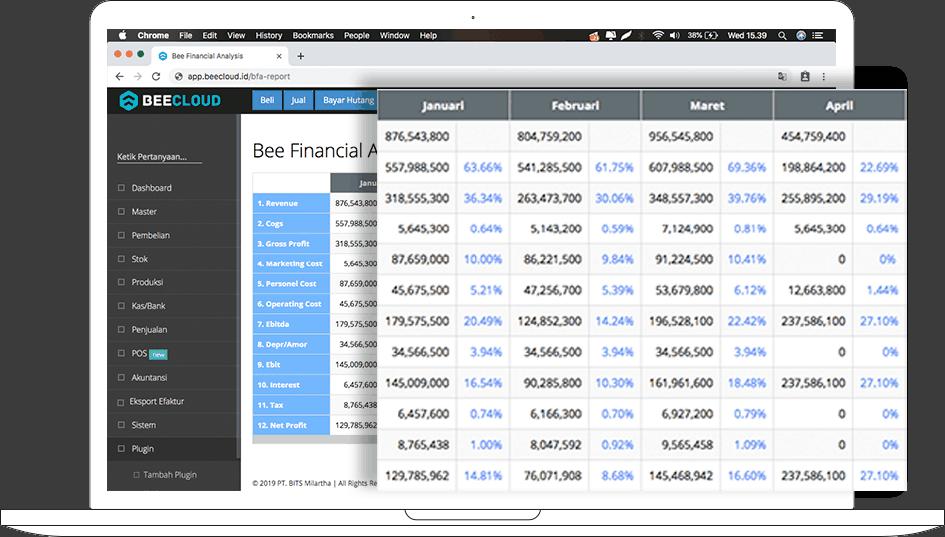 Laptop Screenshot Report BFA Perbandingan di Beecloud