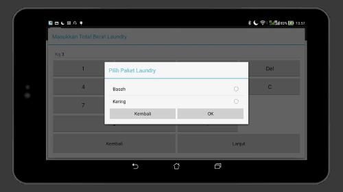 Tampilan Paket Laundry Mesin Kasir Laundry di Android