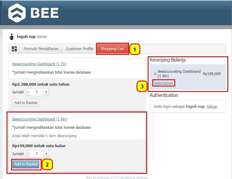 Perpanjang(Renewal) Masa Langganan Beeaccounting Dashboard