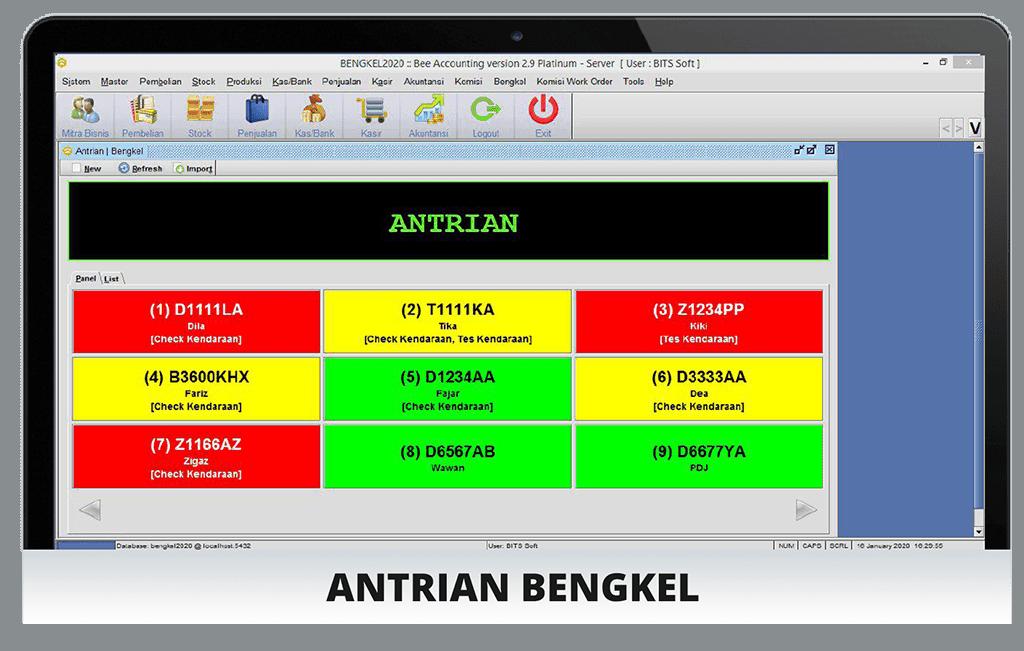 Software Bengkel Tampilan Antrian