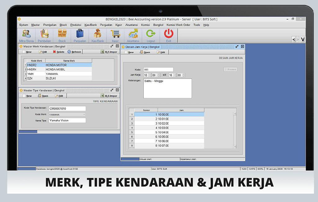 Software Bengkel Screenshot Merk dan Tipe Kendaraan