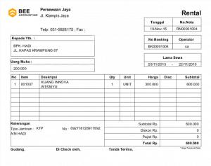 Tampilan Invoice - Software Rental