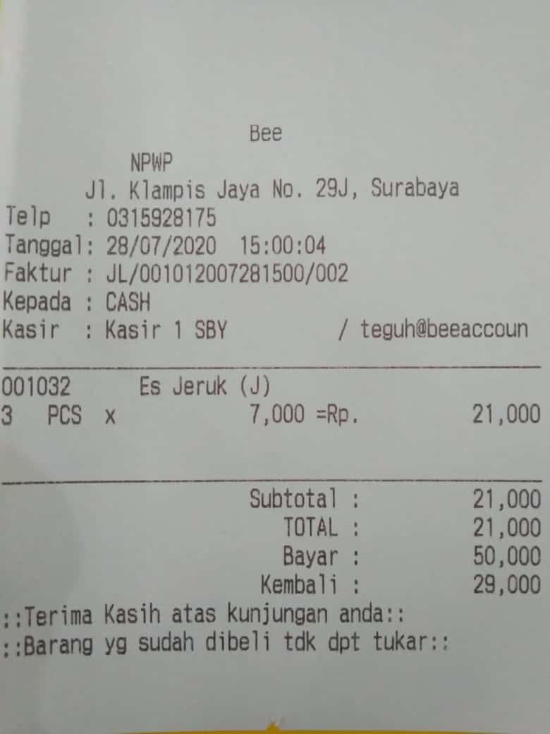 Total Tunai VS Aktual Tunai Setoran Kasir Beepos