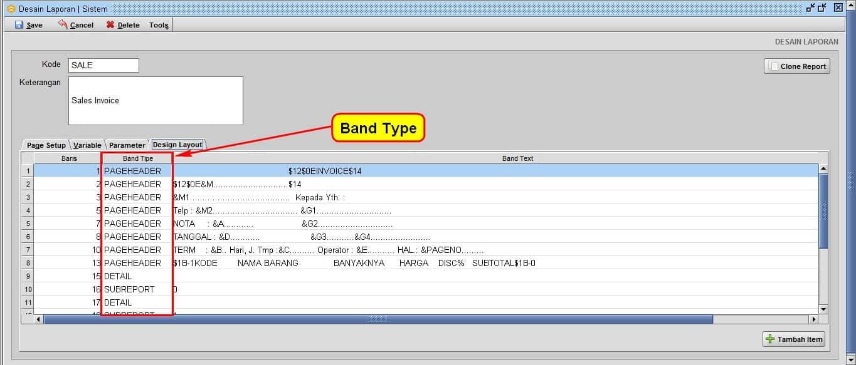 Format  Band Type Untuk Desain Nota / Desain Laporan