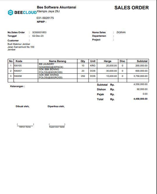 12. Invoice Order Penjualan A4