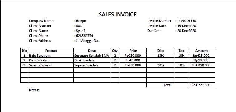 Contoh Invoice Sederhana untuk UMKM