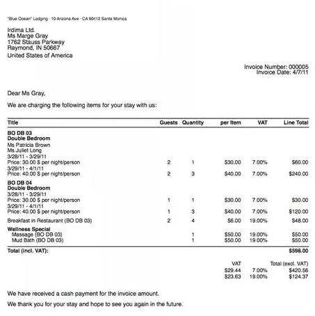 Contoh Invoice UMKM Penginapan