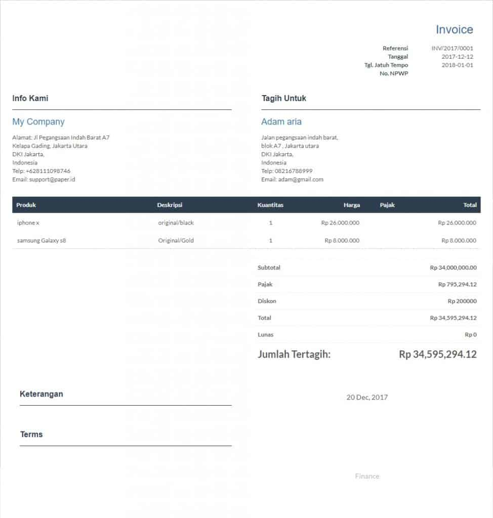 Contoh Invoice Online Shop