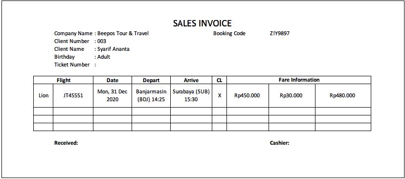 Contoh Invoice Untuk Tour Travel