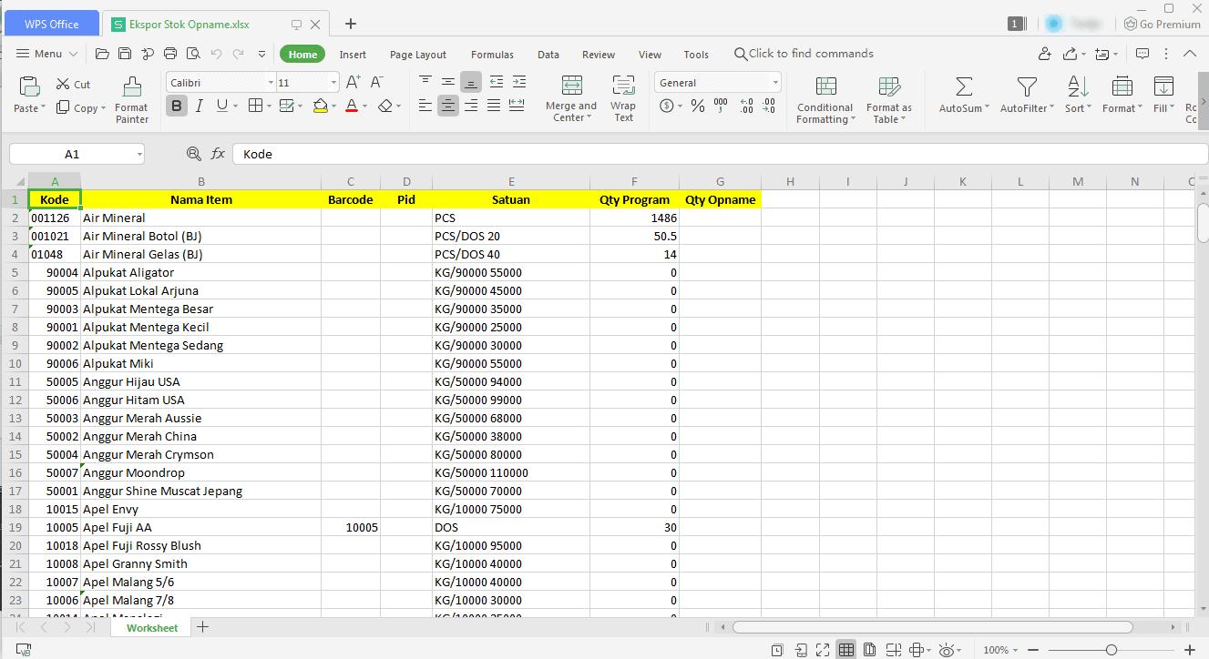 Ekspor Daftar Item File Excel ( Xls ) / PDF - Stock Opname