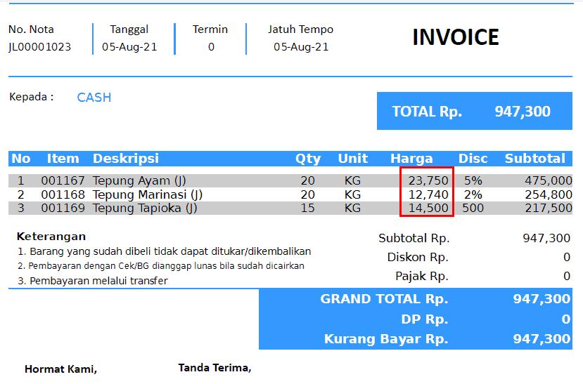 Menampilkan Harga Nett Nota Penjualan (Perintah Variable Grafik Report)