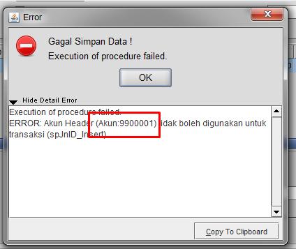 Gb 1. Notifikasi Error Akun Header