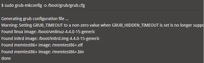 Kemudian generate grubfile baru menggunakan perintah di bawah ini