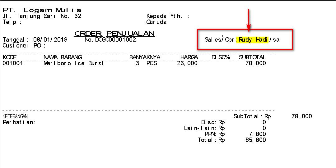 Cara Menampilkan Nama Sales di Invoice Order Penjualan (SO) Text Report