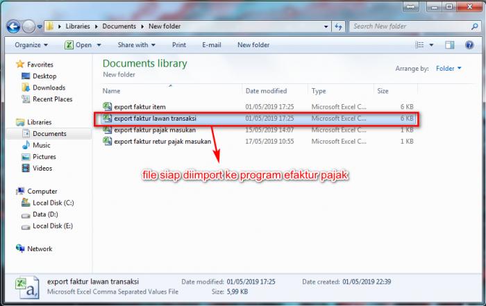 Gb 5. Hasil file Ekspor EFakturGb 5. Hasil file Ekspor EFaktur