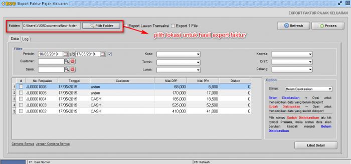 Gb 3. Pilih Direktori File hasil ekspor efaktu