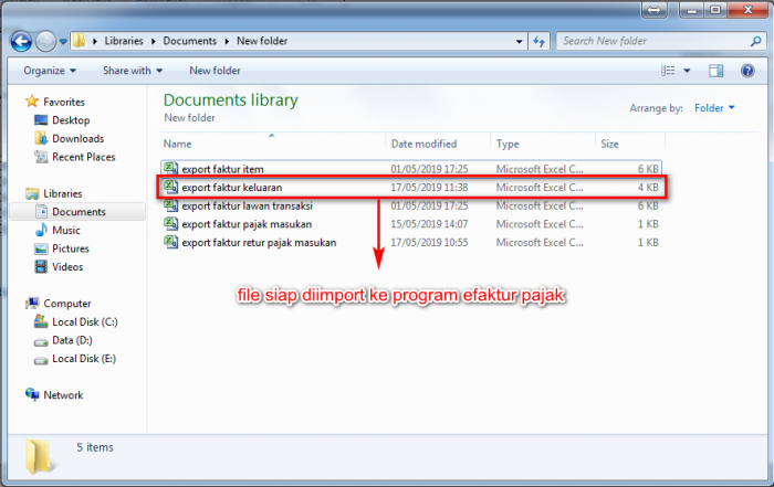 Gb 5. Hasil File export