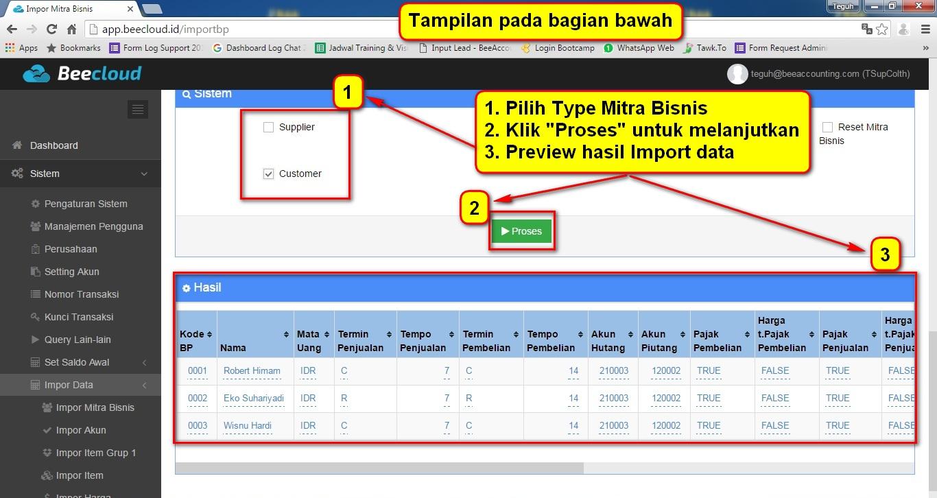 4.Import Mitra Bisnis Proses