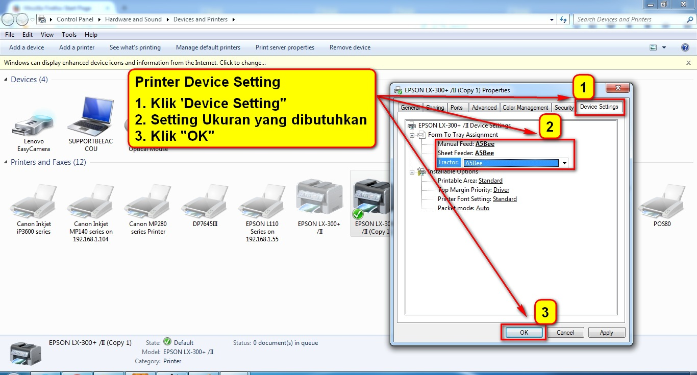 5. Printer Device Setting