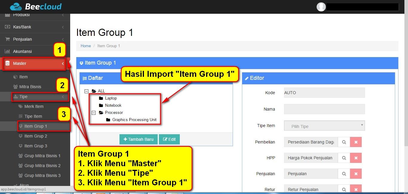 5.Item Group Hasil Import