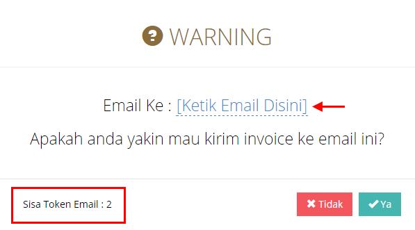 Gambar 4. Isi Email Tujuan & Info Sisa Saldo Token Email