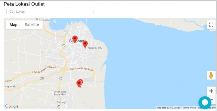 Gb 6. Tampilan Map untuk semua oultet/customer