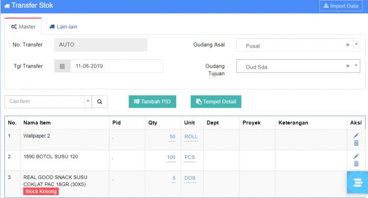 Gb 5. Tampilan Data SEBELUM Di validasi oleh User Pusat